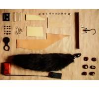Анальная пробка черного цвета диам.40мм с черным лисьим хвостом BF40black/black