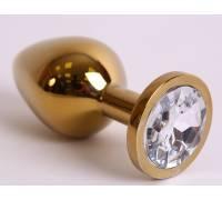 Анальная пробка золото со вставкой белый страз 9,5х4см 47005-2MM