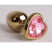 Анальная пробка золото 8х3,5см сердечком розовый страз 47193-1-MM