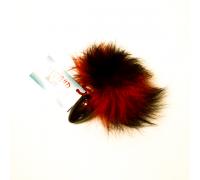 Анальная пробка с красно-черным заячьим хвостом чёрного цвета 32мм HT32black/red