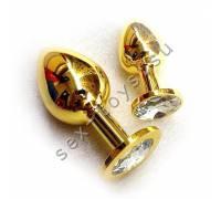 Анальная пробка с кристаллом Large Gold Diamond LGoldD