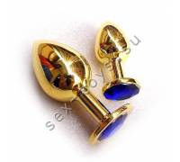 Анальная пробка с кристаллом Small Gold Blue SGoldB