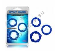 Набор стимулирующих колецStay Hard синие CN-330300013