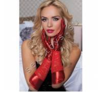 Красные комбинированные перчатки до локтя STM-40113RED