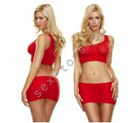 Красная мини-юбка и кроп-топ на одно плечо HH153-RED