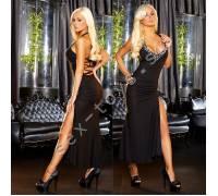 """Вечернее черное платье """"в пол"""" с разрезом от Hustler GOWN3-S/M"""