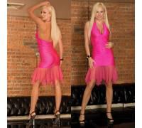 Яркое розовое клубное платье CL085-HPNK