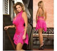 Клубное платье с ассимметричной юбкой CL083-HPNK