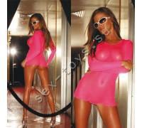Ультракороткое платье в розовую сетку HU64182-HP