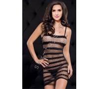 Платье в сетку в полоску черный One Size