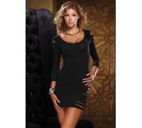 Платье с вырезами на рукавах и на левом бедре SHOULDER DRESS WITH SLEEVE BLACK S 882010-BLACK-S