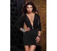 Платье с глубоким декольте и брошью со стразами 3/4 SLEEVE DRESS BLACK M 882540-BLACK-M