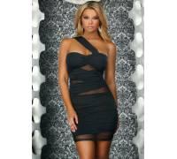 Платье с прозрачными вставками ONE SHOULDER DRESS W MESH BLACK M 883123-BLACK-M