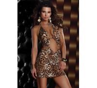 Платье с леопардовым принтом HALTER MINI DRESS LEOPARD S 882401-LEOPARD-S