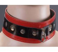 Черно-красный лаковый ошейник