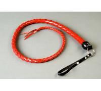 Красная однохвостная лакированная плеть - 60 см.