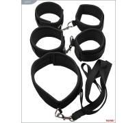 Набор БДСМ-девайсов на липучках: наручники, наножники, ошейник с поводком