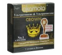 Ультратонкие ультрамягкие презервативы телесного цвета Okamoto Crown - 3 шт.