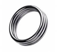Металлическое эрекционное кольцо с рёбрышками размера M