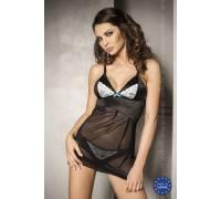 Прозрачная сорочка с атласным лифом и трусики CAROLINE S/M 13221PAS