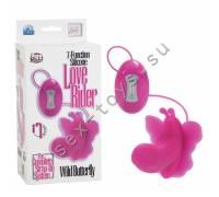Силиконовый розовый вибратор бабочка с функцией стимуляции клитора LOVE RIDER SE-0582-10-3