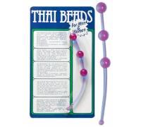 Фиолетовая анальная цепочка Thai beads - 15,5 см.