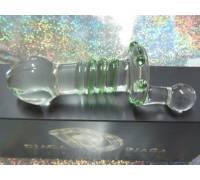 Стеклянная анальная пробка с ручкой и зелёной спиралью - 15 см.