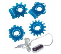 Набор из 4 синих эрекционных колец и виброэлемента с пультом