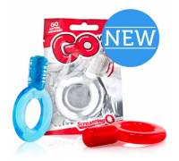Красное упругое кольцо на пенис с вибрацией Go