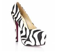 Туфли из искуственной шерсти зебры Black White