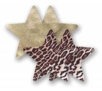 Комплект из 1 пары пэстис-звездочек с леопардовым принтом и 1 пары золотистых пэстис-звездочек