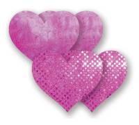 Комплект из 1 пары розовых пэстис-сердечек с блестками и 1 пары розовых пэстис-сердечек с кружевной поверхностью