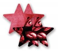 Комплект из 1 пары рубиновых пэстис-звездочек и 1 пары черных пэстис-звездочек с поцелуйчиками