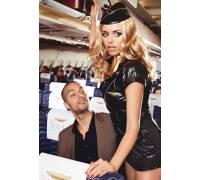 Игровой костюм обольстительной стюардессы: пиджак, мини-юбка, значок, галстук и пилотка