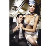 Игровой костюм улётной стюардессы: топ, мини-юбка, шарф, значок и пилотка