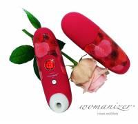 Красный бесконтактный стимулятор клитора WOMANIZER rose edition