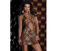 Платье с леопардовым принтом HALTER MINI DRESS LEOPARD