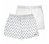 Комплект из 2 мужских трусов-шортов: белые и с мелким рисунком