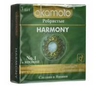 Презервативы анатомической формы с особой ребристой структурой Okamoto Harmony - 3 шт.