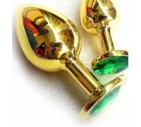 Анальная пробка с кристаллом Large Gold Emerald LGoldE
