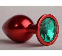 Анальная пробка 8,2 х 3,5см красная с зеленым стразом 47108-1-MM
