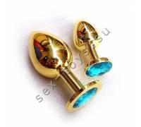 Анальная пробка с кристаллом Large Gold Water Blue LGoldWB
