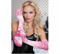 Бархатистые оперные перчатки розовые STM-40109PNK