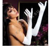 Атласные длинные белые перчатки STM-40109WHT