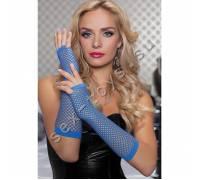 Длинные ажурные перчатки синие STM-40121BLU