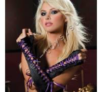 Атласные перчатки-пинетки с фиолетовой шнуровкой STM-40114PUR