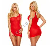 Облегающее красное мини-платье с бретелью на одно плечо HH151-RED