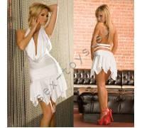 Клубное платье с ассиметричной юбкой CL083-WHT