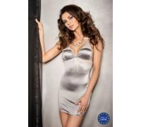 Серебристое платье с кружевными вставками и трусики HALLA S/M 13580PAS