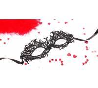 Черная ажурная текстильная маска Андреа